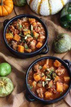 Recipe: Pork, Poblano, and Pumpkin Stew — 5 Festive Pumpkin Recipes from Nealey Dozier (Kitchn Dutch Oven Recipes, Pork Recipes, Cooking Recipes, Pork Meals, Slow Cooking, Chili Recipes, Kitchen Recipes, Crockpot Recipes, Recipe For Chile Verde