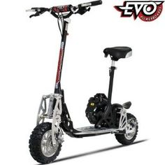 Gas Powered : Evo Big Wheel Gas Scooter 2 speed with Seat. Fast Gas powered scooter, featuring 2 automatic gears and capable of reaching speeds over Gas Powered Scooters, Motor Scooters, Le Tricycle, Gas Scooter, Kick Scooter, Best Electric Scooter, Aluminum Decking, Scooter Design, Remote Control Cars