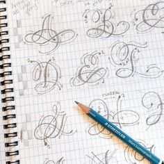 Sometimes nothing can beat the simplest tools. Sketching letters with pencil and paper will always be the most meditative, relaxing… Tattoo Lettering Fonts, Hand Lettering Alphabet, Lettering Styles, Graffiti Lettering, Cursive Alphabet, Doodle Lettering, Copperplate Calligraphy, Calligraphy Handwriting, Calligraphy Letters