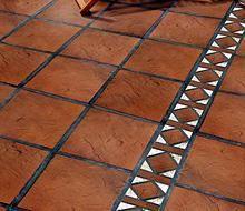 6x12 super saltillo tile with 2x2 talavera decorative for Pisos para patios rusticos