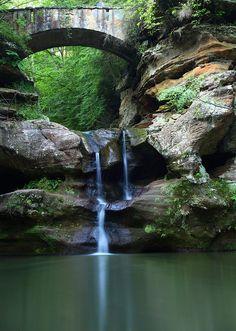 Upper waterfalls Old Mans Cave Bridge - West Virginia