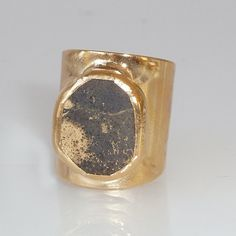 Pyrite Ring, Gemstones Ring, Geometric Ring, Cocktail Ring, 24K Gold Adjustable Wide Band Ring Gold fashion ring, Statement Pyrite Ring.