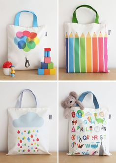 Happy bags from Showler & Showler « Babyccino Kids: Daily tips, Children's products, Craft ideas, Recipes & Diy With Kids, Diy Sac, Painted Bags, Diy Tote Bag, Jute Bags, Kids Bags, 31 Bags, Fabric Bags, Cotton Bag