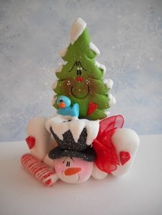 Polymer Clay Snowman with Tree Friend - FIGURINE - pinned by pin4etsy.com