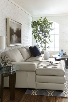 Create an inviting, warm atmosphere in your space with our Galaxy sectional. Gather together and feel the sumptuous, soft feel of the smooth top-grain leather with matching splits. More color choices available.