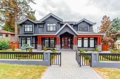 Gray and red house exterior beautiful gray and red house exterior paint color combination gray and . Exterior Paint Color Combinations, Exterior House Colors, Exterior Design, House Color Palettes, House Color Schemes, Assurance Habitation, Superior Homes, Small Porches, Front Porches