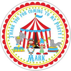 Circus   Personalized Stickers & Favor Tags by Sharenmoments