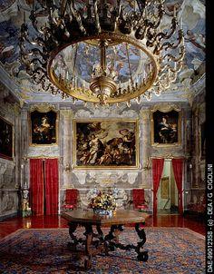 Reception room with frescoes by Lazzaro Tavarone (1556-1641) on the second floor of Palazzo Spinola (UNESCO World Heritage) , Genova, Italy .