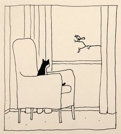 "I love this illustration by Franco Matticchio. This is what my cats do while I'm at work. When I open the shades in the morning on my way out, I tell them that I'm turning on ""Cat T.V."" for them."