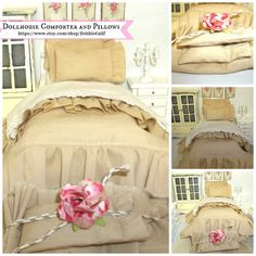 Natural Color Miniature dollhouse Comforter by RibbonwoodCottage, $16.50