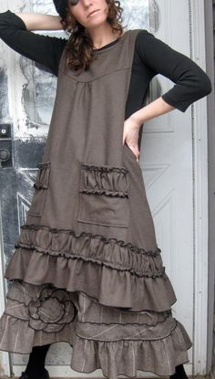 Ruffle Apron Jumper by sarahclemensclothing on Etsy, $145.00
