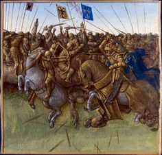 Grandes Chroniques de France - Jean Fouquet of Tours (~1460)  The victory of Louis III and Carloman II of France over the Vikings on the banks of the river Vienne in AD 879.
