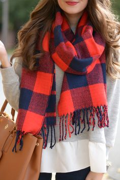 Plaid scarf.