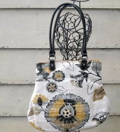 Fabric Handbag Purse Black Gray Mustard Ivory by SadiesSnippets, $52.00