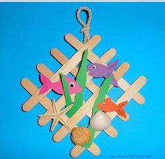 Diy biblioteca summer crafts for kids, popsicle Summer Crafts For Kids, Craft Projects For Kids, Spring Crafts, Diy For Kids, Sea Crafts, Fish Crafts, Diy And Crafts, Paper Crafts, Popsicle Stick Crafts