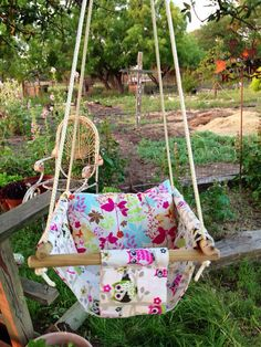 Bushy Tails Baby Swing and Pillow by TexasCottonTales on Etsy, $45.00