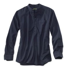 We've constructed this band-collar, long-sleeved popover shirt with a deep button placket so it goes easily over your head. The fabric is a slight textured dobby weave in a great indigo color that we washed to a soft hand. Band collars are back (did they really ever go away?) and we couldn't be happier. Both thoroughly modern and vintage-inspired, they possess a comfortable cool that's the perfect antidote to button-down days. Burnt corozo buttons. Patch pocket, two-button adjustable cuffs…