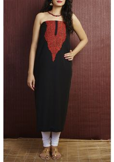 Black Summer cool Kashmiri Hand Emboidered Cotton Dress Material Set