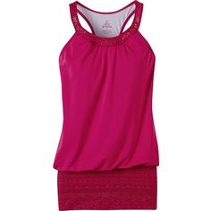 Prana Ani Tank ($38) ❤ liked on Polyvore featuring tops, pink, prana, prana tank top, racerback top, pink tank and scoop neck tank