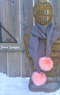 Free Crochet Pattern: Simple Pom-Pom Scarf