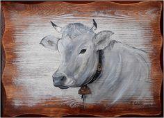 TABLEAU PEINTURE VACHE SCHWYZ DECO CHALET : Peintures par peinture-chalet-montagne