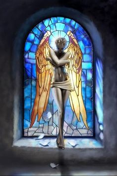 Angel and stained glass