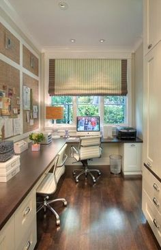 Idea for the screen porch enclosure...paneled grasscloth bulletin board walls with built-in desk and cabs.