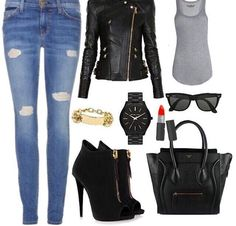 Dress up a basic outfit with a leather jacket and some heels