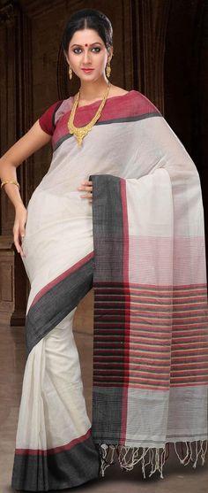 Off White Bengal Handloom #Cotton Ghicha #Silk #Saree with #Blouse @ US $77.55