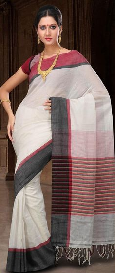 Off White Bengal Handloom #Cotton Ghicha #Silk #Saree with #Blouse @ US $77.55
