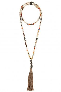 Tassel necklace with neutral stones accented with black pave beads.