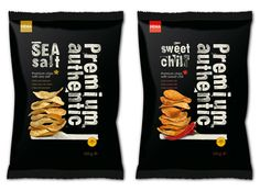 "HEMA Salty Snacks Designed by Studio Kluif Description from Designers : ""Kluif designed the entire packaging line for Hema's salty snacks. The packaging Chip Packaging, Packaging Snack, Black Packaging, Food Packaging Design, Packaging Design Inspiration, Simple Packaging, Food Branding, Pretty Packaging, Potato Stamp"