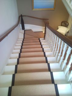 Amusing Black Side Ivory Chenille Carpet Runner For Stairs With White  Wooden Carving Banister Rails Stairs