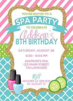 Spa Birthday Invitation Spa Party Invitation by CarouselPrintables