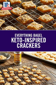 Snack on these low carb keto crackers by the handful! McCormick® Everything Bagel Seasoning - a mix of garlic, poppy seed, salt, onion and sesame seed - makes 'em downright irresistible. Low Carb Bread, Low Carb Keto, Low Carb Recipes, Cooking Recipes, Easy Recipes, Healthy Recipes, Easy Snacks, Keto Snacks, Recipes