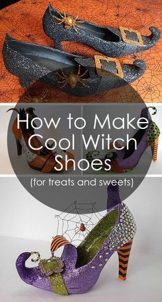 How to Make Amazing Witch Shoes For Sweets and Treets Halloween Shoes, Fete Halloween, Halloween Projects, Holidays Halloween, Halloween Treats, Halloween Witches, Halloween Crafts To Sell, Halloween Costumes, Halloween Halloween
