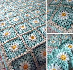 Daisy Crochet Granny Square Free Pattern
