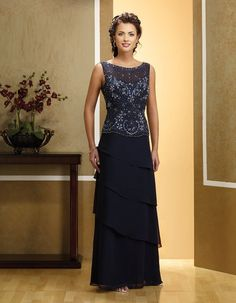 Elegant Chiffon Dark Navy Mother Of The Bride Dresses -- whatcha think @Sheila -- Barber Zahran?  :)