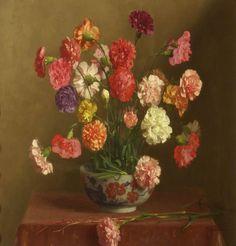 Thomas Cooper Gotch (1854-1931) - Carnations, oil on canvas, 59 x 59,2 cm.