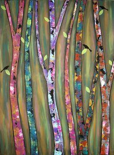 Whistling Trees Folk Art Karla Gerard Canvas by KarlaGerardFolkArt