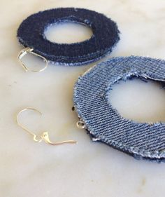 Denim Jean Fabric Hoop Earrings, reversible, handmade,  recycled denim / jean, two sided, made to order, made in Greece on Etsy, 13,32 €