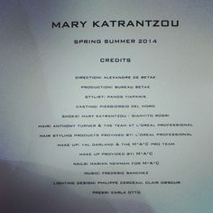 Thank you to the amazing team! #MARYKATRANTZOU #KATRANSHOE #LFW #SS14