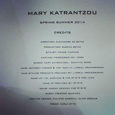Thank you to the amazing team! #MARYKATRANTZOU #KATRANSHOE #LFW #SS14