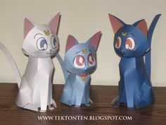 Tektonten Papercraft - Free Papercraft, Paper Models and Paper Toys: Papercraft Sailor Moon Cats Sailor Moon Birthday, Sailor Moon Party, Sailor Moon Crafts, Sailor Moon Wedding, 3d Paper Crafts, Paper Toys, Origami, Paper Models, Free Paper