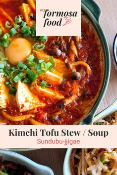 Kimchi Sundubu-jjigae is Soft Tofu Stew with kimchi. This is a staple meal in Korea and one of the best ways to use aged kimchi. It is said to be eaten twice or more a week.  I remember trying Kimchi Soft Tofu Stew when I was living in Japan. I wanted to recreate the flavour at home and as I prefer to have it less spicy so I have removed some of the heat. You can always add it back in. You can follow the easy step-by-step instructions to create this delicious meal. Kimchi, Easy Korean Recipes, Asian Recipes, Ethnic Recipes, Tofu Recipes, Cooking Recipes, Healthy Recipes, Healthy Food, Yummy Food