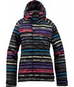 On Sale Burton Method Snowboard Jacket True Black Palette Stripe - Womens 2013