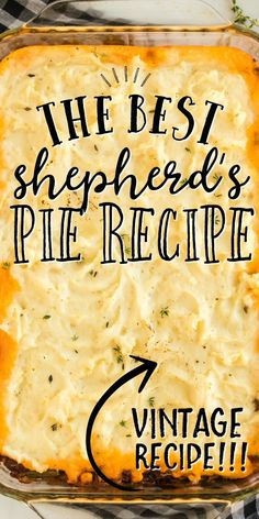 This classic shepherd's pie recipe is the ultimate in savory comfort food! Perfectly seasoned ground beef and veggies are topped with creamy, homemade mashed potatoes before being baked in a casserole Easy Pie Recipes, Easy Casserole Recipes, Casserole Dishes, Meat Recipes, Cooking Recipes, Hamburger Recipes, Skillet Recipes, Pizza Recipes, Recipies