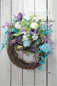 Country Spring Wreath, Front Door Wreath, Spring Bird Nest Wreath, Wildflower Summer Wreath, Country Wreaths, Spring Decor, Wreath for Doors
