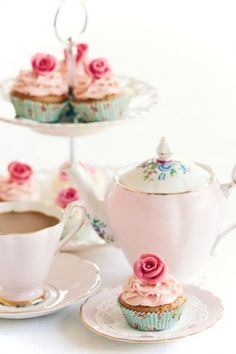pretty pink Tea party cupcakes and tea. So cute! I want to have a tea party with cupcakes!!