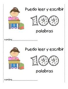 """For your 100 Days of School celebration in a Spanish bilingual classroom, here is a book titled """"Puedo leer y escribir 100 palabras"""".  Students will write 10 words in each of the following categories: 1) colors 2) people 3) animals 4) places 5) shapes 6) numbers 7) clothing 8) food 9) friends 10) actions  Included is a girl cover and a boy cover."""